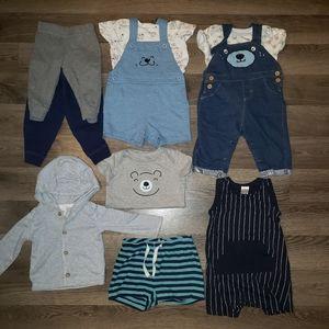 6-9m Baby Outfits & Blue Bears Bundle Lot 10pcs.